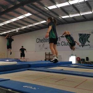 School kids jumping on a trampoline